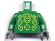 Part No: 973pb0352c01  Name: Torso Castle Knights Kingdom II with Rascus Pattern / Green Arms / Dark Bluish Gray Hands