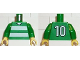 Part No: 973pb0365c01  Name: Torso Soccer Horizontal White Stripes and No. 10 Back Pattern / Green Arms / Yellow Hands