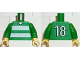 Part No: 973pb0366c01  Name: Torso Soccer Horizontal White Stripes and No. 18 Back Pattern / Green Arms / Yellow Hands