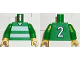 Part No: 973pb0367c01  Name: Torso Soccer Horizontal White Stripes and No. 2 Back Pattern / Green Arms / Yellow Hands