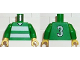 Part No: 973pb0368c01  Name: Torso Soccer Horizontal White Stripes and No. 3 Back Pattern / Green Arms / Yellow Hands