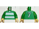 Part No: 973pb0369c01  Name: Torso Soccer Horizontal White Stripes and No. 7 Back Pattern / Green Arms / Yellow Hands