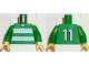 Part No: 973pb0371c01  Name: Torso Soccer Horizontal White Stripes and No. 11 Back Pattern / Green Arms / Yellow Hands