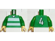 Part No: 973pb0372c01  Name: Torso Soccer Horizontal White Stripes and No. 4 Back Pattern / Green Arms / Yellow Hands