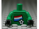 Part No: 973pb0816c01  Name: Torso Soccer Dutch Goalie, Dutch Flag Sticker Front, White Number Sticker Back (specify number in listing) / Green Arms / Black Hands