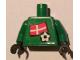 Part No: 973pb0823c01  Name: Torso Soccer Danish Goalie, Danish Flag Sticker Front, White Number Sticker Back (specify number in listing) / Green Arms / Black Hands