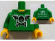 Part No: 973pb0958c01  Name: Torso Bat Wings and Crossbones Front, 2011 The LEGO Store Toronto, Canada Back Pattern / Green Arms / Yellow Hands