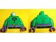 Part No: 973pb1099c01  Name: Torso Batman Black Question Mark on Chest and Yellow Question Mark on Dark Purple Belt Pattern / Green Arms / Dark Purple Hands