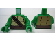 Part No: 973pb1341c01  Name: Torso Turtle Shell with Dark Brown Horizontal and Diagonal Belt Pattern / Green Arms / Green Hands