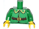 Part No: 973pb1496c01  Name: Torso Rounded Collar, 4 Gold Buttons and Brown Belt with Gold Buckle Pattern / Green Arms / Yellow Hands