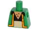 Part No: 973pb1678  Name: Torso Simpsons Vest with Bright Light Orange Trim, Black Shirt, Tan Pants and Chest Hair Pattern