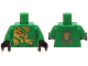 Part No: 973pb1822c01  Name: Torso Ninjago Gold Dragon Front and Gold Dragon and 'LLOYD' Back Pattern / Green Arms / Black Hands