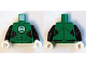 Part No: 973pb1860c01  Name: Torso Muscles Outline with Green Lantern Logo on White Background Pattern / Black Arms / White Hands