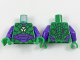 Part No: 973pb2981c01  Name: Torso Armor with Lex Luthor Warsuit with Green Hexagon Logo and Dark Purple Plates Pattern / Dark Purple Arms / Green Hands