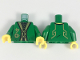 Part No: 973pb3019c01  Name: Torso Ninjago Robe with Gold Trim and Symbols over Black Shirt with Gold Dots Pattern / Green Arms / Yellow Hands