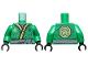 Part No: 973pb3020c01  Name: Torso Ninjago Robe with Lime and Gold Trim, Gold Symbol, Black Dots, Dark Bluish Gray Sash Pattern / Green Arms / Black Hands