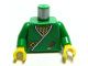 Part No: 973px40c01  Name: Torso Castle Ninja Wrap, Dagger, Gold Star, Gold Zigzags Pattern / Green Arms / Yellow Hands