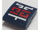 Part No: 15068pb192  Name: Slope, Curved 2 x 2 No Studs with Red and White Asian Symbols on Dark Blue Background Pattern (Sticker) - Set 70642