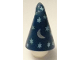 Part No: 17349pb02  Name: Minifigure, Headgear Hat, Cone Drooping, Wizard with Silver Stars and Moon Pattern