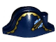 Part No: 2528pb09  Name: Minifigure, Headgear Hat, Pirate Bicorne with Gold Trim, Gold Button and Blue Flower Pattern