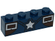Part No: 3010pb207  Name: Brick 1 x 4 with Silver Star and Two Rectangles Pattern