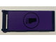 Part No: 30292pb027  Name: Flag 7 x 3 with Rod with Foot in Black Circle on Dark Purple Background Pattern (Sticker) - Set 79122