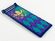 Part No: 30292pb041  Name: Flag 7 x 3 with Rod with Dark Purple and Dark Turquoise Panels and Gold Arendelle Flower Crest Pattern (Sticker) - Set 41164