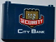 Part No: 64453pb004  Name: Windscreen 1 x 6 x 3 with 3 '100' Banknotes on Metallic Gold Shield, 'SECURITY' and 'CITY BANK' Pattern (Sticker) - Set 3661