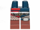 Part No: 970d44pb01  Name: Minifigure, Legs with Hips - 1 Dark Blue Left Leg, 1 Red Right Leg with Reddish Brown Boots, Black Belt with Silver Rivets, White Fishnet Stockings and Knee Pad Pattern