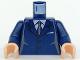 Part No: 973pb0226c01  Name: Torso Suit with 2 Buttons, Gray Sides, Black Centerline and Tie Pattern / Dark Blue Arms / Light Nougat Hands