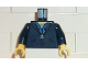Part No: 973pb0259c01  Name: Torso Harry Potter Zipper Jacket and Blue Shirt Collar Pattern / Dark Blue Arms / Yellow Hands
