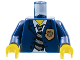 Part No: 973pb0290c01  Name: Torso Police Suit with Gold Badge and Striped Tie Pattern / Dark Blue Arms / Yellow Hands