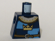 Part No: 973pb0451  Name: Torso Castle Fantasy Era Gold Crown on Dark Blue, Medium Blue Quarters, Collar Pattern