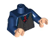 Part No: 973pb0491c01  Name: Torso Speed Racer Dark Bluish Gray Pinstripe Vest and Red Tie Pattern / Dark Blue Arms / Light Flesh Hands