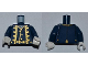 Part No: 973pb0945c01  Name: Torso PotC Uniform Jacket over Vest with Gold Trim Pattern / Dark Blue Arms / White Hands