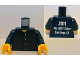 Part No: 973pb1012c01  Name: Torso Studios Plaid Button Shirt Front, 2011 The LEGO Store San Diego, CA Back Pattern / Dark Blue Arms / Yellow Hands