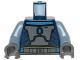 Part No: 973pb1177c01  Name: Torso SW Armor Plates Dark Bluish Gray Pattern (Pre Vizsla) / Sand Blue Arms / Dark Bluish Gray Hands