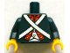 Part No: 973pb1404c01  Name: Torso Soldier White Crossed Belts and Red Placket with Gold Buttons Pattern / Dark Blue Arms / Yellow Hands