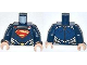 Part No: 973pb1418c01  Name: Torso Shirt with Muscles, Red and Yellow Superman 'S' Logo and Gold Oval Belt Buckle with Red Cape Clasp Pattern / Dark Blue Arms / Light Nougat Hands