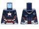 Part No: 973pb1536  Name: Torso Armor with '002', 'DANGER', White Rectangle and Silver and Red Plates Pattern