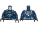 Part No: 973pb1647c01  Name: Torso Batman Logo in Medium Blue Oval with Body Armor and Dark Bluish Gray Belt Pattern / Dark Blue Arms / Black Hands