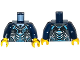 Part No: 973pb1919c01  Name: Torso Black, Silver and Medium Azure Body Armor with Ultra Agents Logo over Shirt and Black Tie Pattern / Dark Blue Arms / Yellow Hands