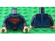 Part No: 973pb2200c01  Name: Torso Shirt with Muscles, Red and Gold Superman 'S' Logo, Gold Belt Buckle and Red Cape Clasps Pattern / Dark Blue Arms / Light Flesh Hands