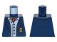 Part No: 973pb2248  Name: Torso Batman Suit Jacket, Light Blue Button Down Shirt Open Collar, Red Ascot, Gold Monogram Pattern