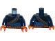 Part No: 973pb2263c01  Name: Torso Batman Bandolier and Orange Belt with Pouches Pattern / Dark Blue Arms / Orange Hands