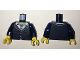 Part No: 973pb2345c01  Name: Torso Female Suit Jacket with White Collar Shirt with Buttons Pattern / Dark Blue Arms / Yellow Hands