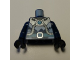 Part No: 973pb2597c01  Name: Torso Armor with Medium Azure Round Crystal and Belt, Silver Tubes and Buckle and White Ice Pattern / Dark Blue Arms / Black Hands