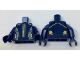Part No: 973pb2683c01  Name: Torso Female Bodysuit with Gold and Light Blue Trim Lines on Sides and Center Pattern / Dark Blue Arms / Dark Blue Hands