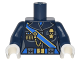 Part No: 973pb2793c01  Name: Torso Female Outline Military Uniform with Blue Sash and Belt and Gold Chain and Medals Pattern / Dark Blue Arms / White Hands