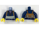 Part No: 973pb2862c01  Name: Torso Kimono with Black and Lavender Trim, Tan Waist Sash and Medium Dark Flesh Backpack with Straps Pattern / Dark Blue Arms / Yellow Hands